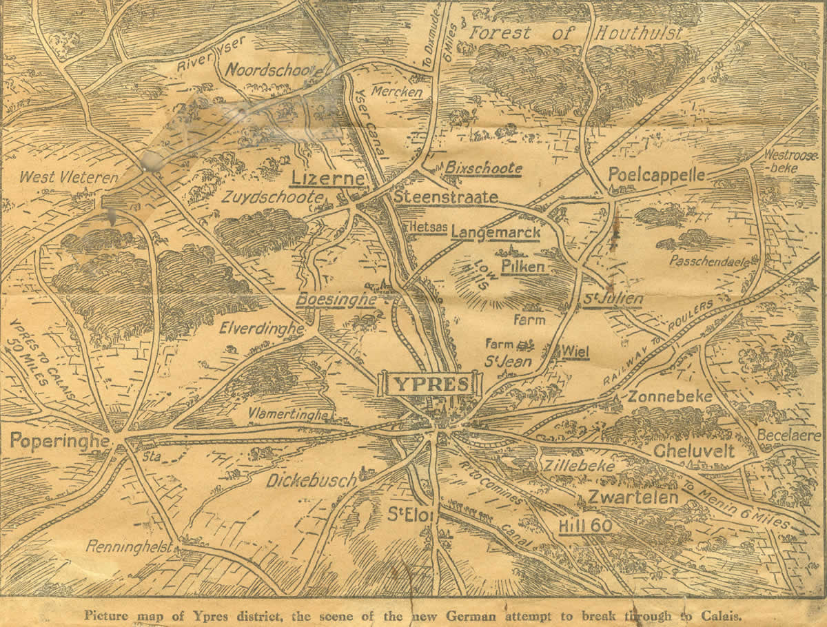 Ypres and surrounding countryside, from Walter Draycott's scrapbook
