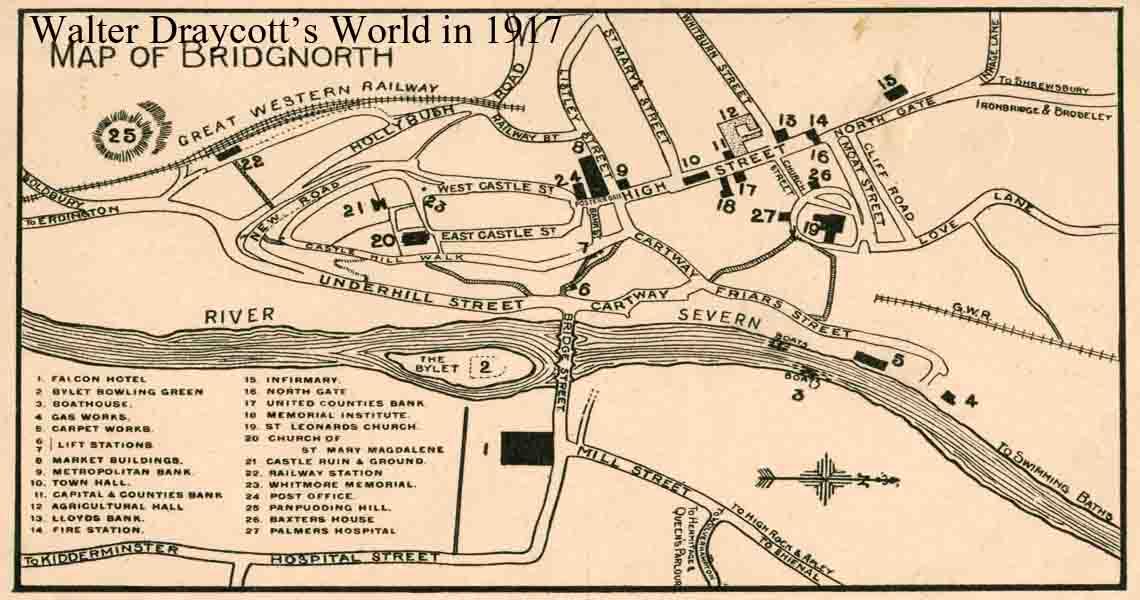 Map of Bridgnorth England 1917