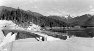 Cleveland Dam, Capilano Lake & the Lions 1950s. NVMA 10635