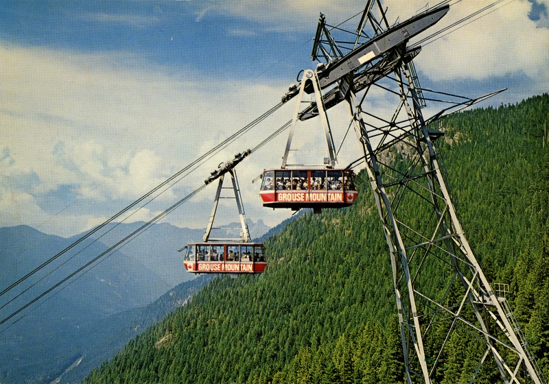 Skyride with the Lions behind. Sharon Blair photo, Natural Color Productions. Post 1966.