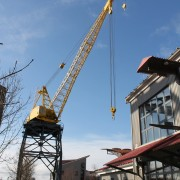 Restored Burrard Dry Dock Crane, Shipbuilders Square, 2015