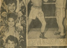 Newspaper clipping of four Nahanee brothers in boxers' robes. A second clipping shows two young boxers in the ring.