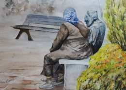 Detail of a watercolour painting showing an elderly woman sitting next to a statue of Walter Draycott.