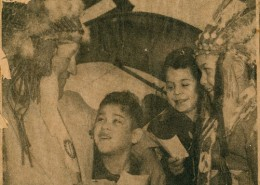 Cover page of the Vancouver Sun with three aboriginal children meeting a Native American athlete.