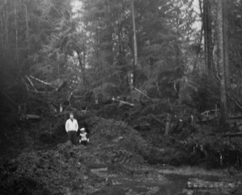 Excavation site with a man and child standing near the back, trees behind them.