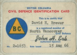 Dave Brewer's identification card for the British Columbia Civil Defence.
