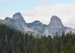 Landscape shot of two pointed mountain peaks.
