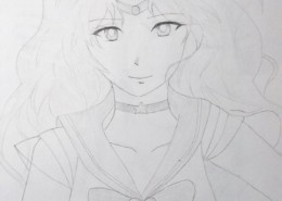 Pencil drawing of a female Japanese anime character.
