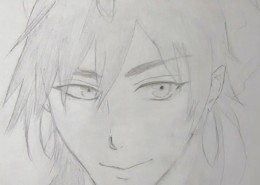 Pencil drawing of a male manga character's face.