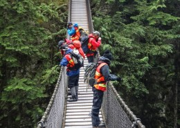 Five team members look down into a canyon from a suspension bridge.