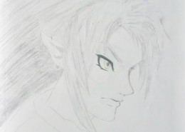 Pencil drawing of a male profile with elf ears in Japanese manga style.