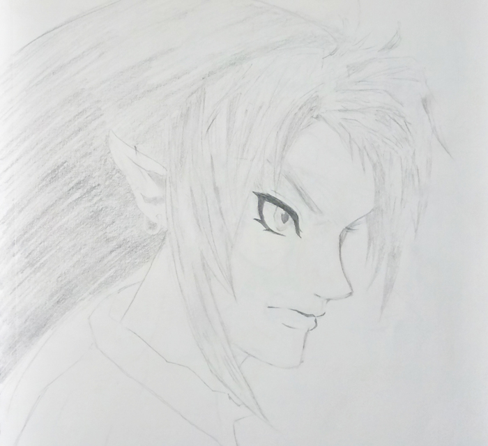 Pencil Drawing Of A Male Profile With Elf Ears In Japanese Manga Style