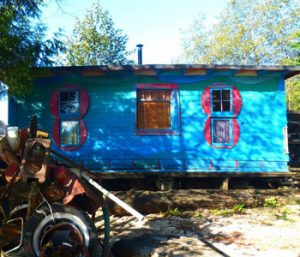 Facade of Blue Cabin on Burrard Inlet
