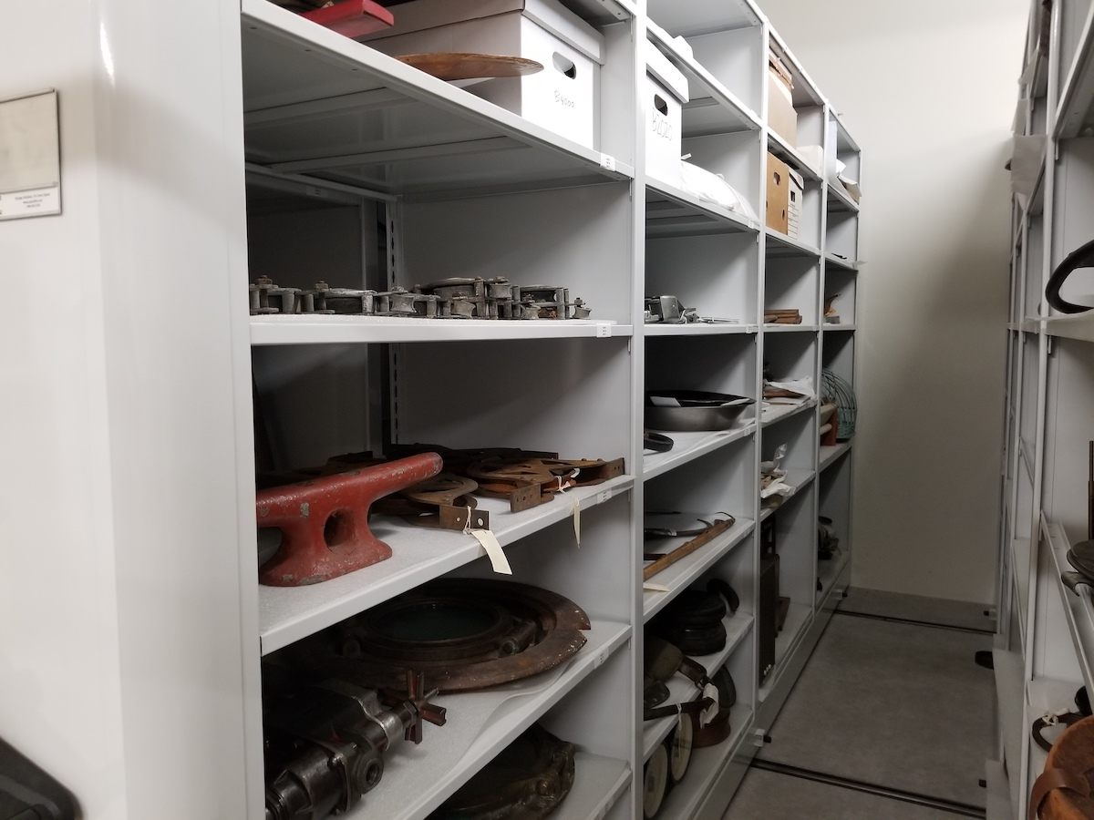 A glimpse into the compact shelving of our new museum collection facility. Photo: Karen Dearlove