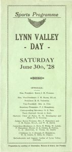 Image of the Sports Program for a 1928 Lynn Valley Days Event. Item 1928-2.