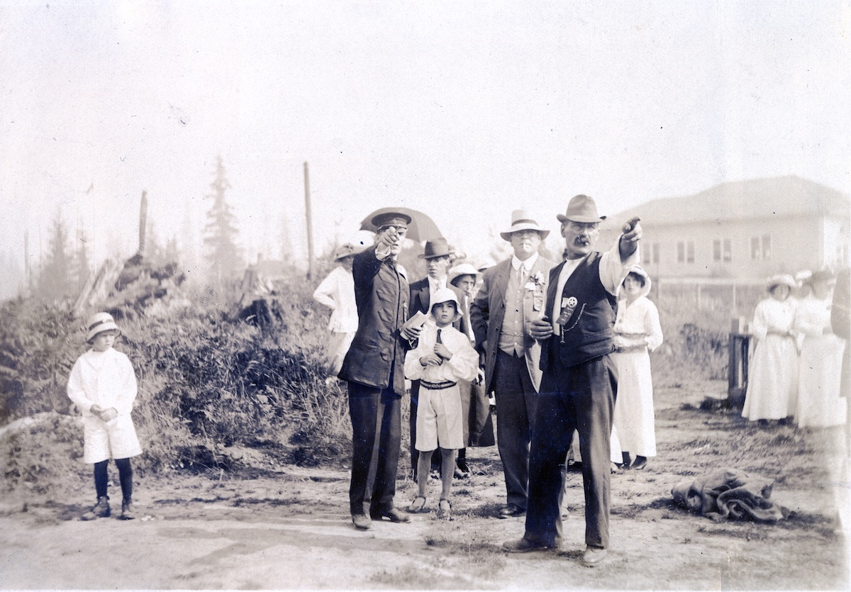Unidentified group at Lynn Valley Days, 1915? Bert and Alice Hughes immediately to right of man in uniform. Item: 9008.