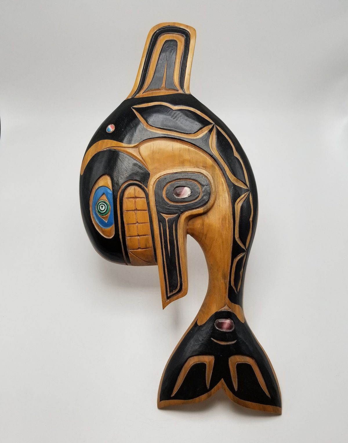 Orca carving by Tsleil-Waututh artist Artie George. Item: NVMA 2016.7.1