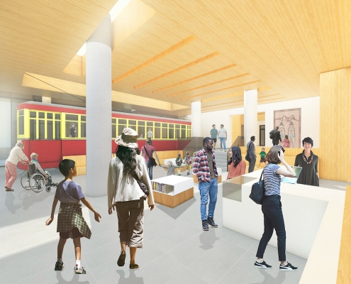 Architect's rendering of the Museum's front lobby looking south, away from the front entrance.