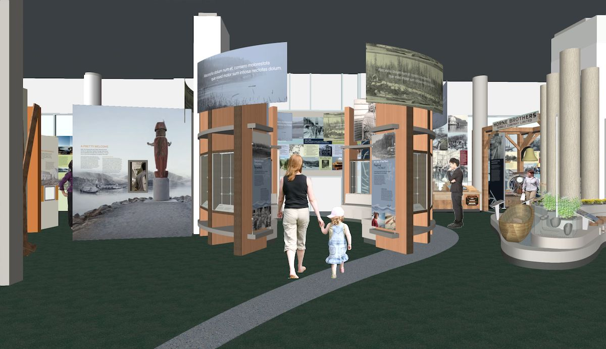 Rendering of the Welcome Circle in the Permanent Gallery. Here visitors will be introduced to the stories, history, culture and people of the Squamish and Tsleil-Waututh First Nations.