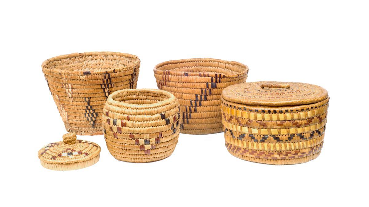 Assorted Coast Salish baskets.
