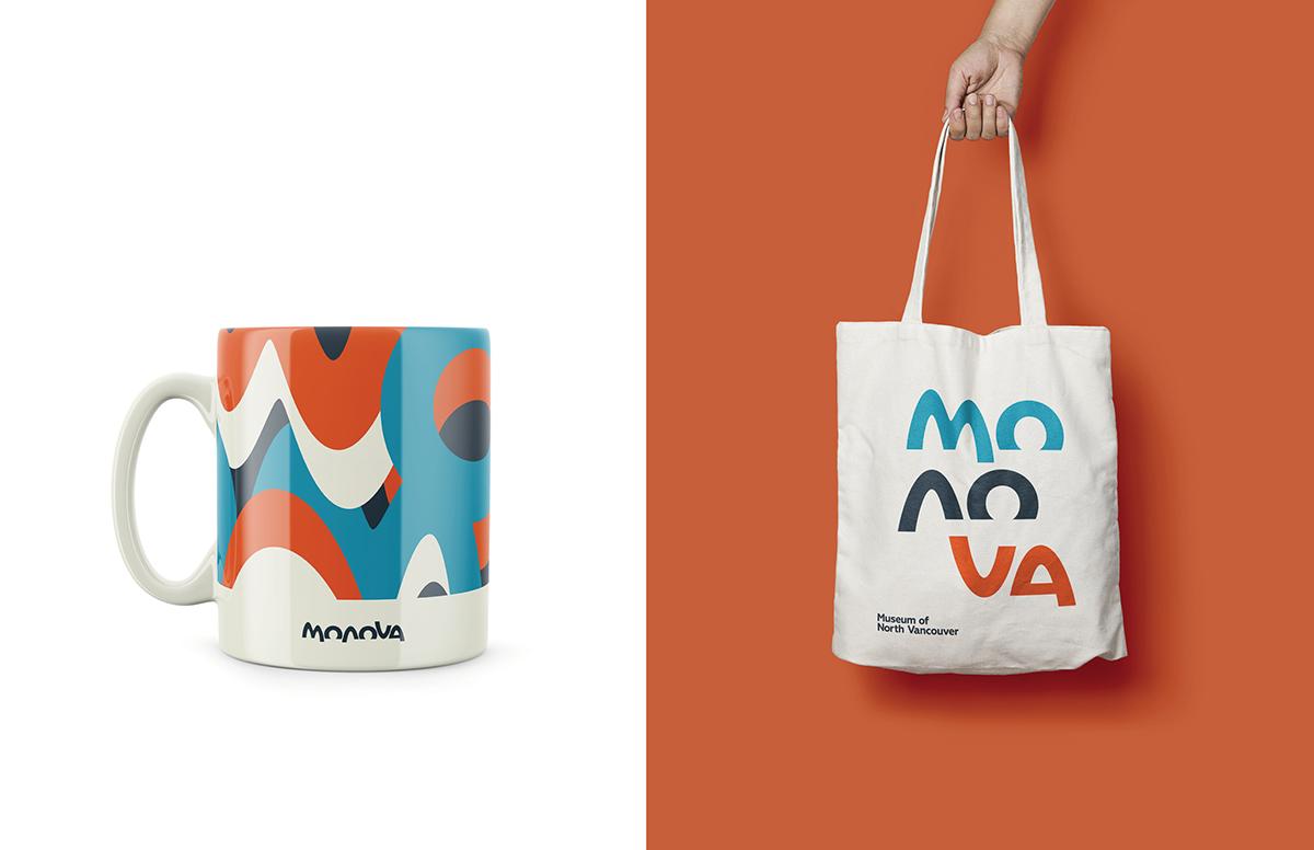 Image of a MONOVA coffee mug and tote bag. Concepts for future merchandise at the MONOVA Gift Shop.