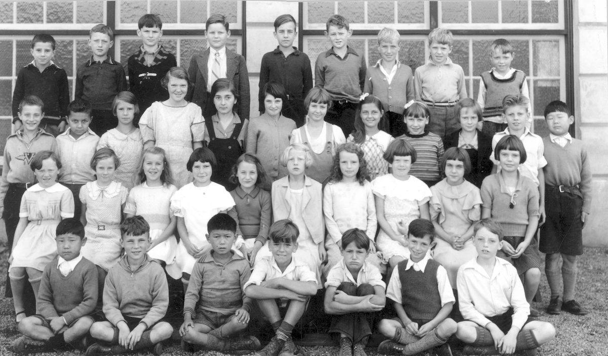 Grade 4 class photo from Lynn Valley School in 1935. Ten students have been identified, including Walter John Vine in back row, fourth from left. Photo: NVMA 12566