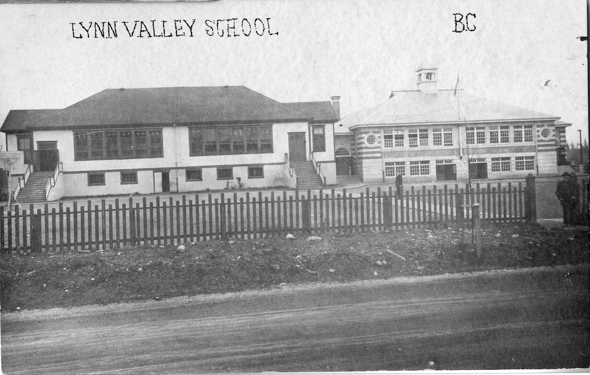 An image of the Lynn Valley School, ca. 1920 or 1921. The building at left was built in 1912, and the building at right opened in 1920.