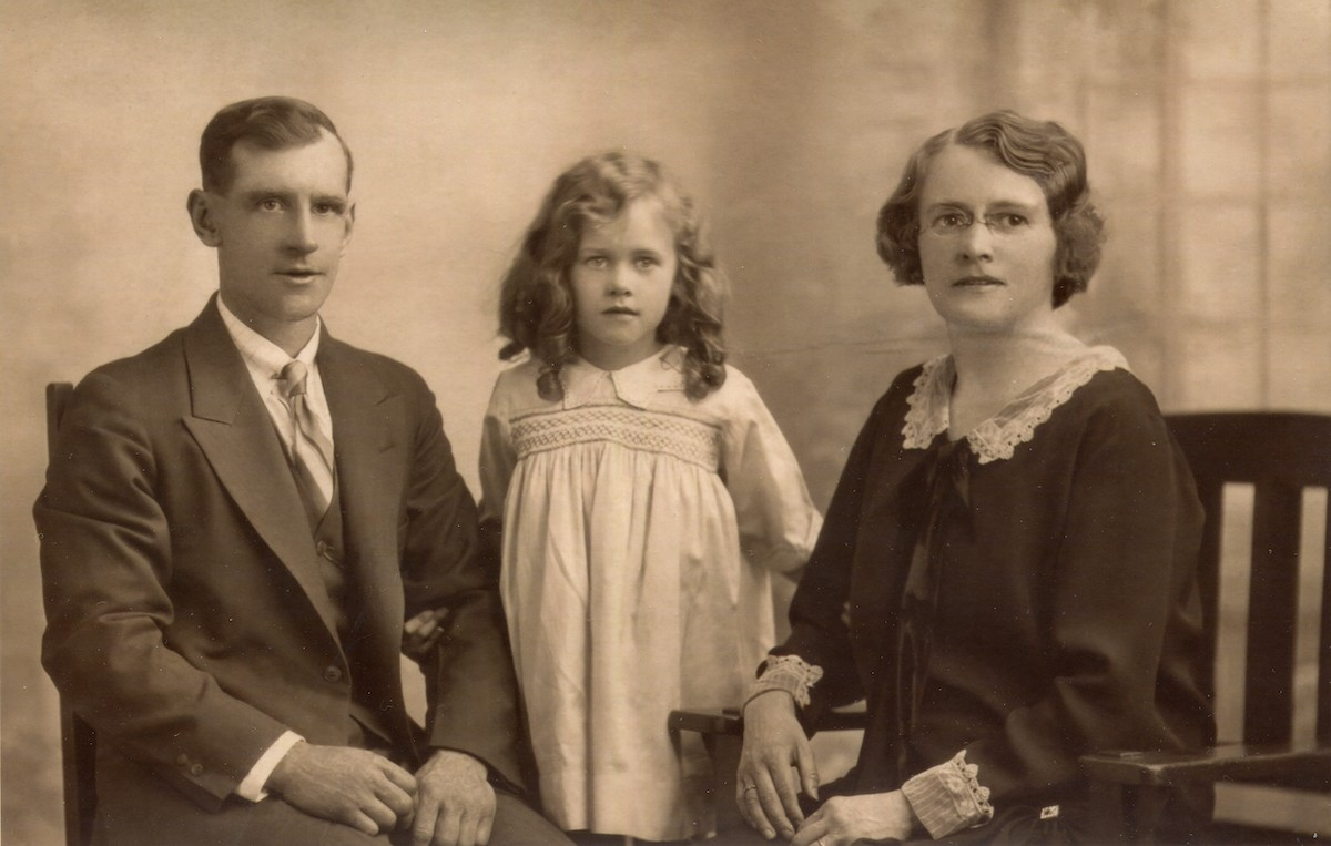 Pat with mother Emily and stepfather Joseph Emblin, ca. 1929. Photo courtesy of Pat Fockler.
