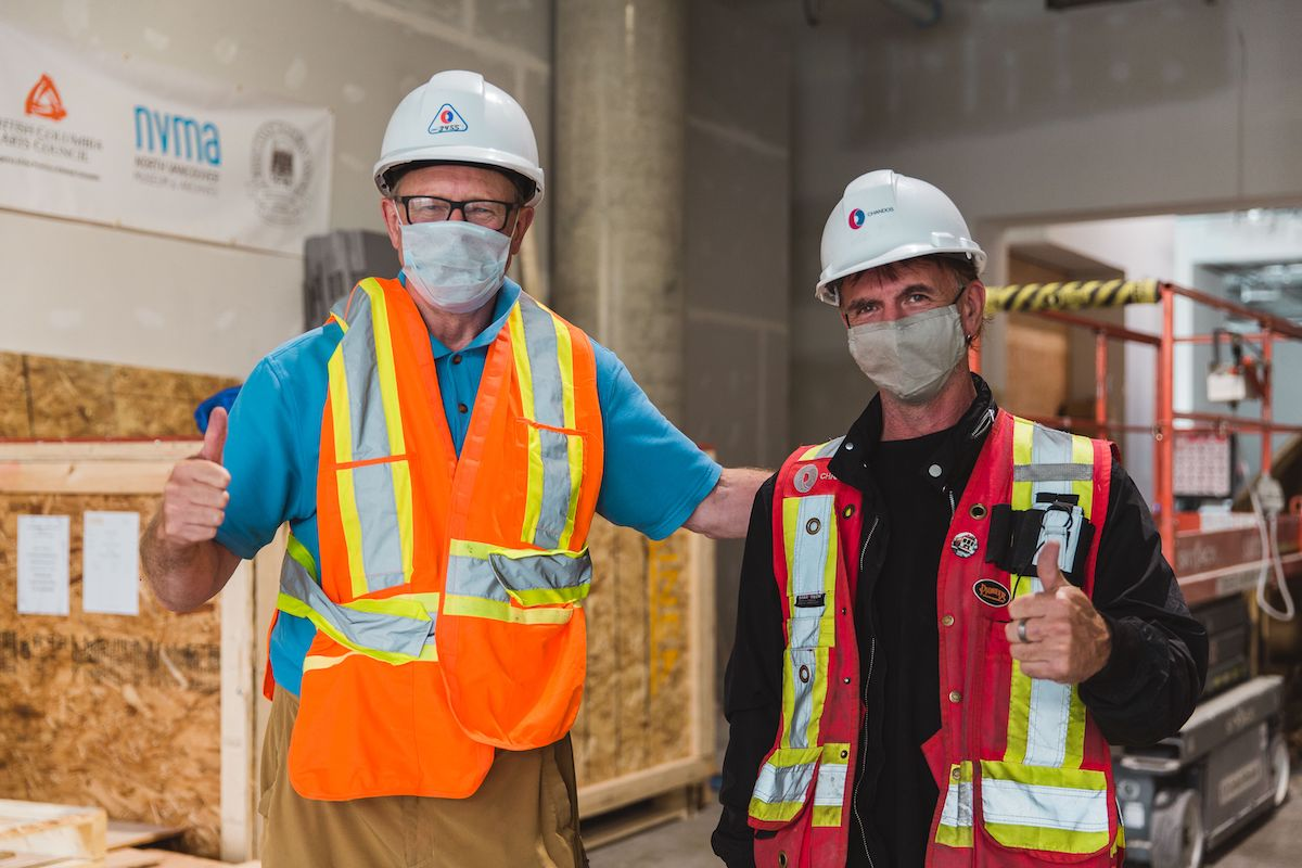 Image of MONOVA Director Wes A. Wenhardt with Shawn Macleod, Site Superintendent of Chandos in September 2020 in the new Museum of North Vancouver. Photo by Alison Boulier.