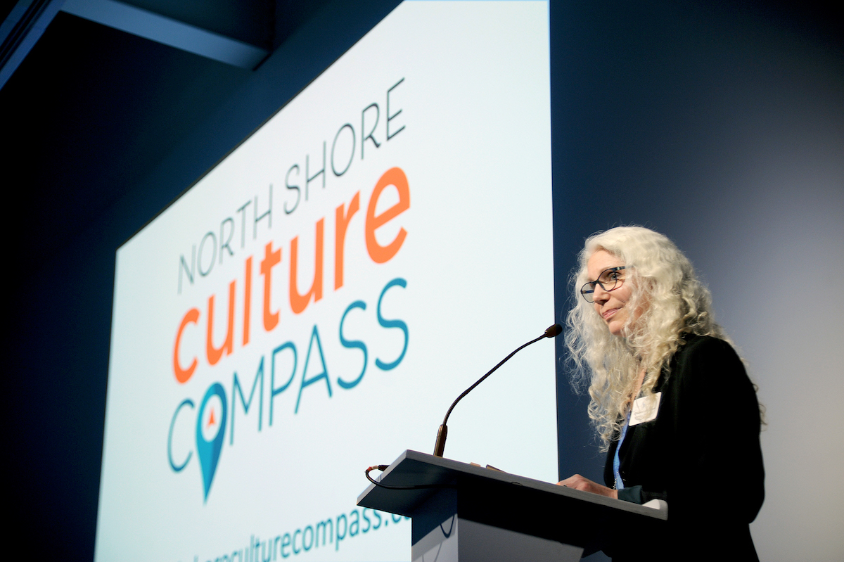 Nancy Cottingham-Powell at the North Shore Culture Compass Reveal, March 12 2020. Photo: Mike Wakefield