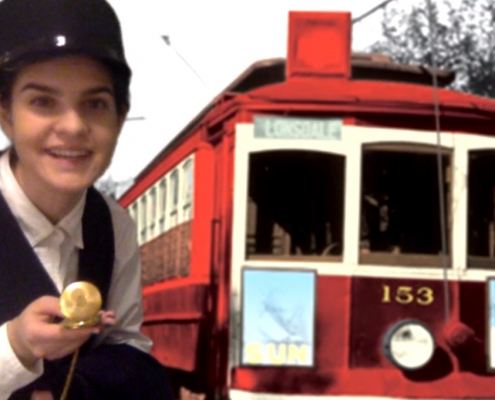 "Screen capture from ""Riding With Change: Streetcar Stories from the North Shore"" with Young Canada Works museum theatre intern Chantal Gallant."