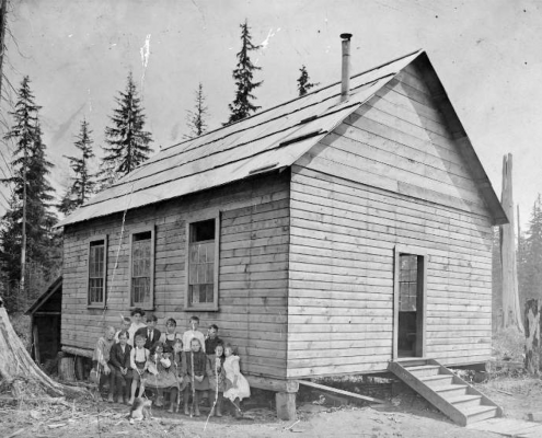 First Lynn Valley School, Church Rd. Opened in 1904. Miss Whiteley, first teacher. NVMA 6648