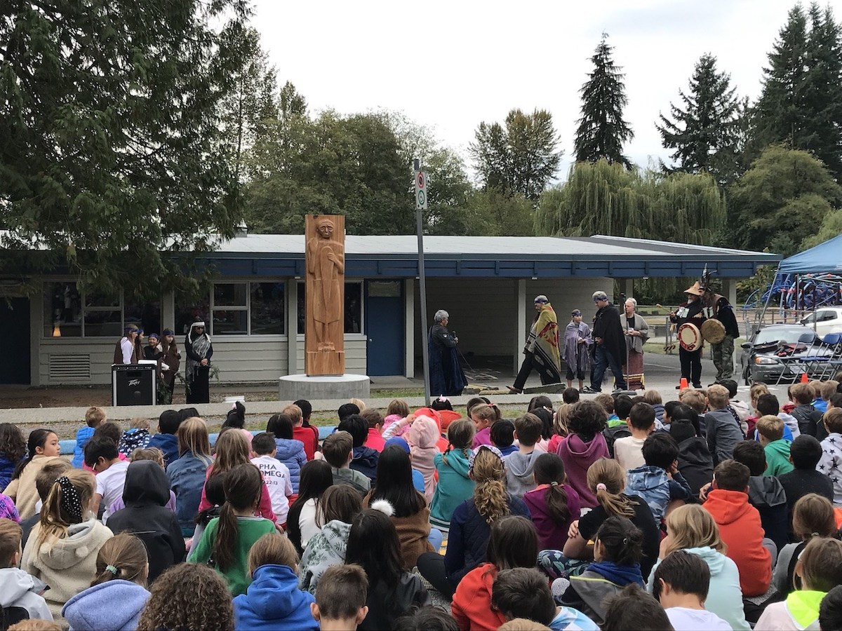 Traditional Coast Salish ceremony at L'École Cleveland Elementary.