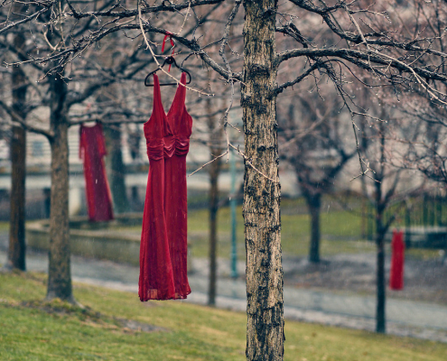 "Jamie Black's REDress Project is described as ""an aesthetic response to the more than 1000 missing and murdered aboriginal women in Canada."" Photo: Sam Javanrouh"