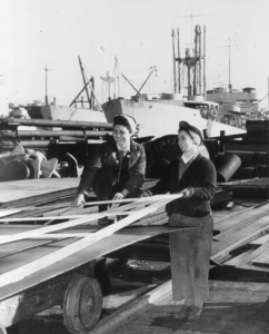 Ruth Franzen and Nora ?, employees at Burrard Dry Dock. NVMA 15314