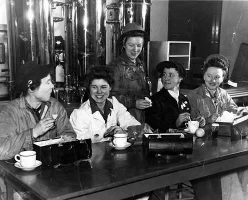 Five women shop stewards in Burrard Dry Dock canteen. Nancy Baker, second from right. 1942. NVMA 8073